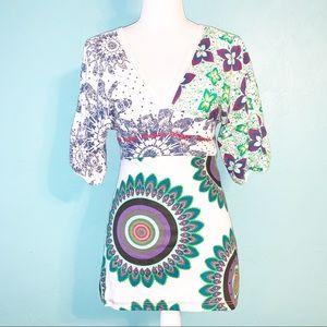 Desigual Boho Artsy Plunge V-Neck Kimono Style Top